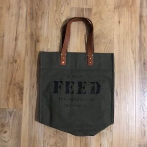 ✨NWOT✨ FEED army green canvas tote bag